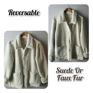 Coat Brandon Thomas Faux Suede Fur Reversable